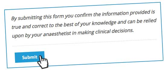 patient disclaimer anaesthetic questionnaire