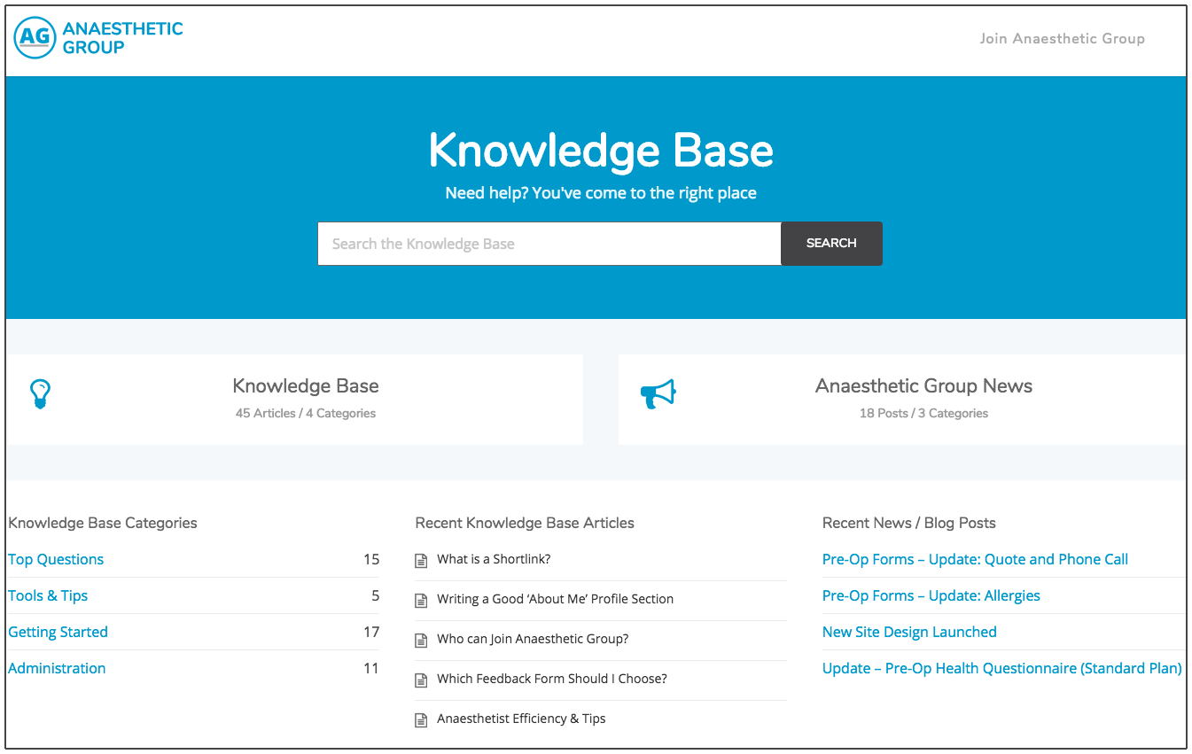 new anaesthetic questionnaire website knowledgebase
