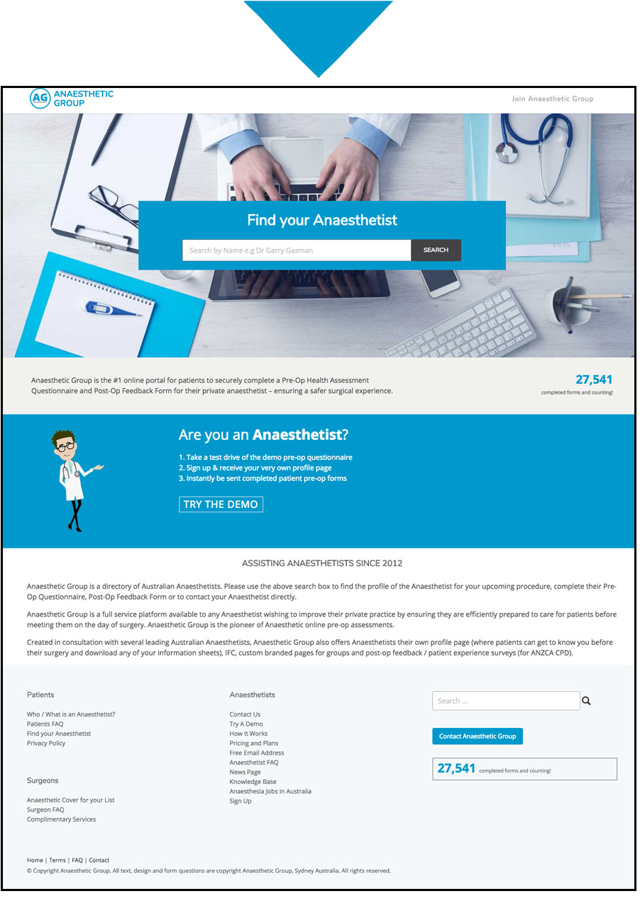 new anaesthetic group questionnaire website