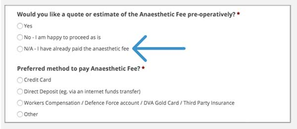 anaesthetic billing payment option