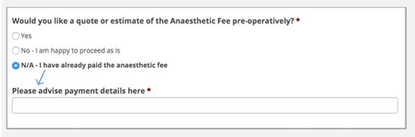 anaesthetic billing payment option extended