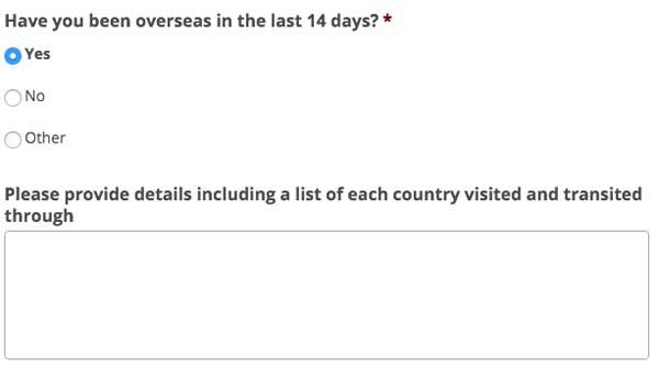 Coronavirus (COVID-19) anaesthetist pre-op health questionnaire