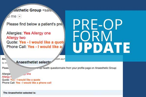 Pre Op Questionnaire with Allergy Quote IFC and Phone Call features